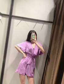 Fashion Purple Linen Waist Solid Color V-neck Jumpsuit