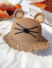 Fashion Lace Brown Hat Circumference About 52cm 2 Years Old-5 Years Old Straw Cats Hitting Childrens Sunscreen Fisherman Hat