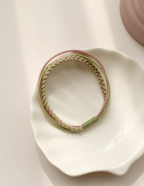 Fashion Green Plus Pink High-strength Woven Contrast Color Multi-layer Leather Case Hair Rope