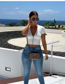 Fashion White Short-sleeved V-neck Tube Top