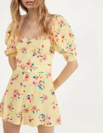 Fashion Yellow Flower Sleeve Jumpsuit With Puff Sleeves And Belt