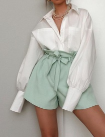Fashion Green Bow Tie Pleated Shorts