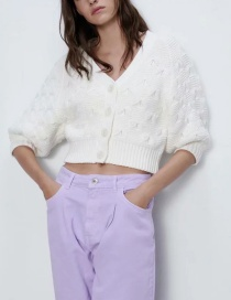 Fashion White Ruyi Buttoned Lantern Sleeve Knit Jacket