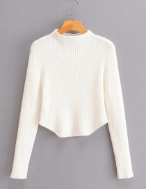 Fashion Creamy-white Asymmetrical Slim-fit Sweater