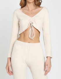Fashion Flesh Drawstring Knotted V-neck Slim Sweater