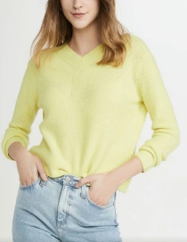 Fashion Yellow V-neck Knitted Solid Color Sweater