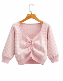 Fashion Pink Checked Drawstring V-neck Short Sweater