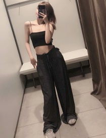 Fashion Black Polka-dot Lace-up Elasticated Wide-leg Pants