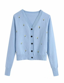 Fashion Blue V-neck Embroidered Single-breasted Sweater Sweater