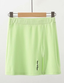 Fashion Green Letter Embroidered Split Skirt