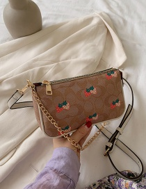 Fashion Light Brown Small Strawberry Ladybug Print Chain Shoulder Crossbody Bag