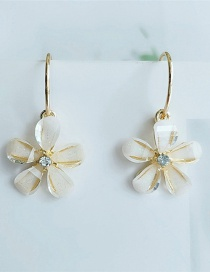 Fashion White Resin Flower Diamond Earrings