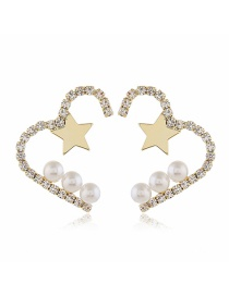 Fashion White Love Pearl And Diamond Pearl Stud Earrings