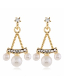 Fashion Yellow Geometric Pearl And Diamond Alloy Hollow Earrings