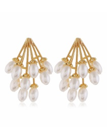 Fashion Yellow Pearl Chain Alloy Earrings