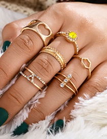 Fashion Golden Diamond-shaped Geometric Diamond Cutout Love Ring Set
