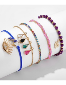 Fashion Color Mixing Braided Rope Droplet Diamond Tassel Eye Cactus Anklet Set