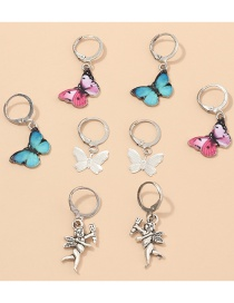 Fashion Color Mixing Dripping Butterfly Angel Alloy Earring Set