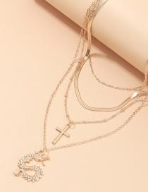 Fashion Golden Dragon Cross Diamond Multilayer Necklace