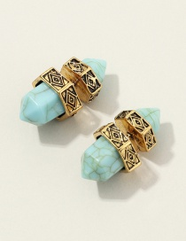 Fashion Golden Hexagonal Turquoise Alloy Earrings
