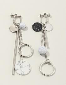 Fashion Silver Asymmetric Tassel Geometric Round Turquoise Earrings