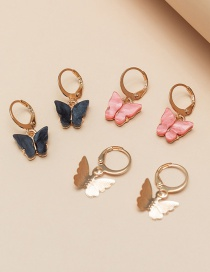 Fashion Color Mixing Butterfly Resin Alloy Earring Set