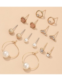 Fashion Golden Geometric Pearl And Diamond Alloy Earring Set