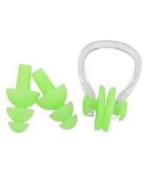 Fashion Green Silicone Swimming Waterproof Nose Clip Earplugs