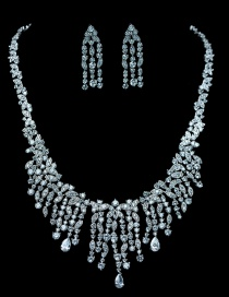 Fashion White Gold Copper Inlaid Zircon Necklace Set