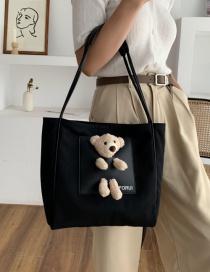 Fashion Black Bear Canvas Shoulder Bag