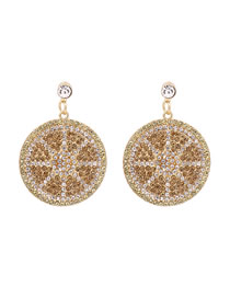 Fashion Golden Geometric Round Diamond Earrings