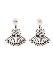 Fashion Ab Color Hollow Fan Shaped Alloy Earrings