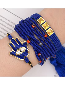 Fashion Blue Suit Fringed Rice Bead Braided Palm Rivet Multilayer Bracelet
