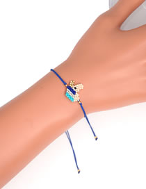 Fashion Blue Rice Bead Woven Unicorn Bracelet