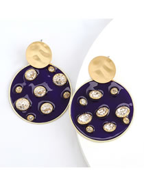 Fashion Navy Round Resin Earrings With Diamonds And Pearls
