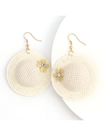 Fashion Yellow Rattan Woven Flower Straw Hat Earrings