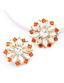 Fashion Golden Round Flower Stud Earrings With Alloy Diamond