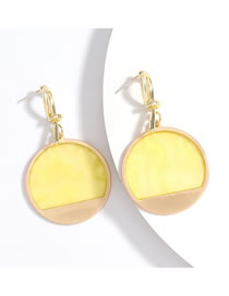 Fashion Yellow Round Gold Earrings