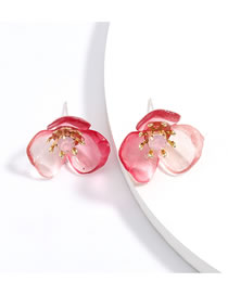 Fashion Red S925 Silver Post Flower Hypoallergenic Earrings