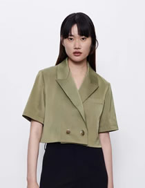 Fashion Green H-shaped Lapel Double Button Blazer