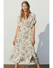 Fashion Beige Floral Buttoned Front Dress