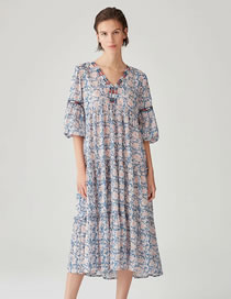 Fashion Blue Print Watermark Embroidery Print Dress