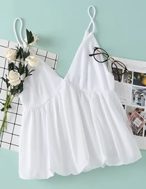 Fashion White Fluffy Polyester And Cotton Suspender Top