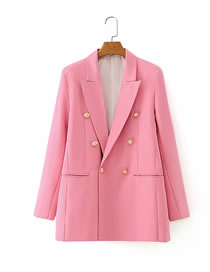 Fashion Pink Double-breasted Loose Suit Jacket