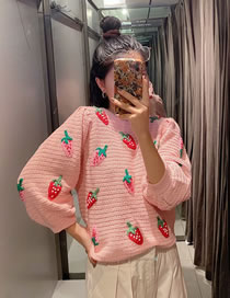 Fashion Pink Strawberry Pattern Stitching Crew Neck Sweater