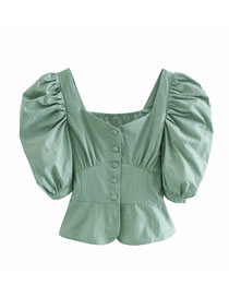 Fashion Green Puff Sleeve Single Breasted Top