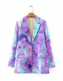 Fashion Color Mixing Tie-dye One-button Suit Jacket