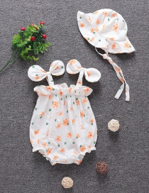 Fashion Hanging Pack Fart Clothing Printed Flowers Baby One-piece Romper