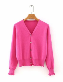 Rose Red Button V-neck Cardigan Sweater