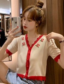 Fashion Red Peach Heart Embroidered Wavy Short-sleeve Top